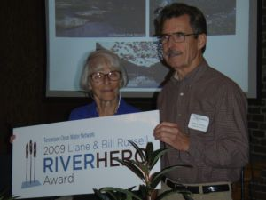 TCWN renamed the River Hero Award to Honor both Liane and Bill Russell. Lee is joined by previous River Hero Frank Hensley, TCWP Vice-President.